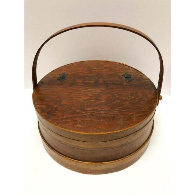 1930s 1930s Shaker Firkin Wood Sewing Basket For Sale - Image 5 of 11