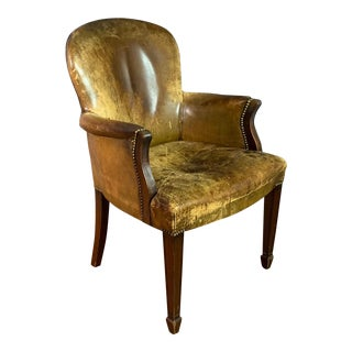 Early 1900s English Leather & Mahogany Library Chair For Sale