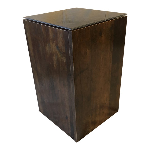 Faux Tree Stump Square Side Table For Sale