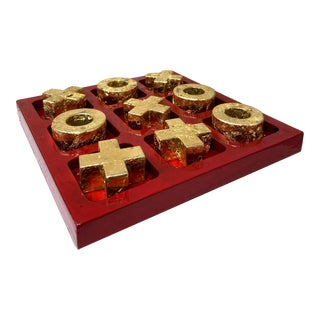 Distressed Red Enamel and Gold Leaf Tic Tac Toe Game For Sale