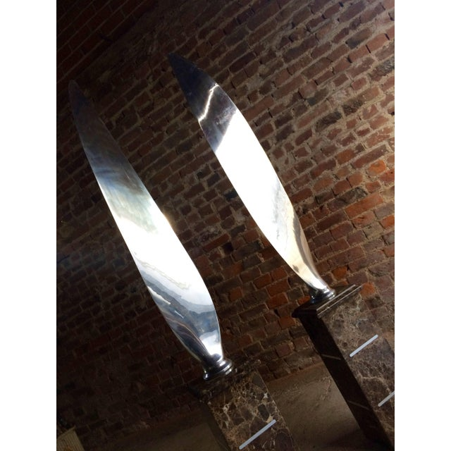 Mid-Century Modern Tall Polished Chrome Airplane Propeller Blades Sculptures - A Pair For Sale - Image 3 of 11
