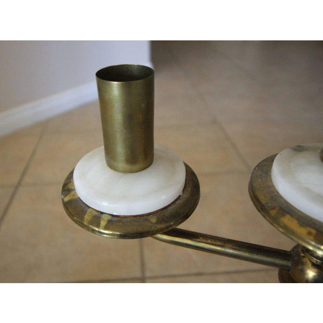 Italian Gio Ponti Style Alabaster Brass Lamps - a Pair For Sale - Image 11 of 13