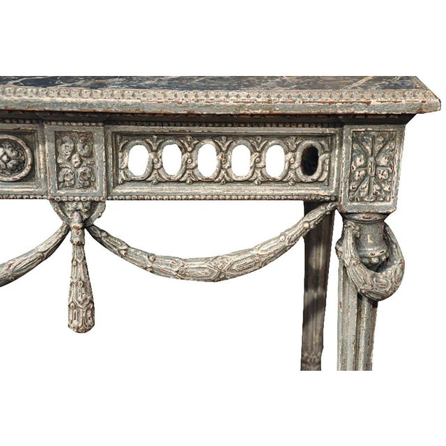 19th Century Louis XVI Carved Painted Faux Marble Top Consoles - a Pair For Sale In Dallas - Image 6 of 9