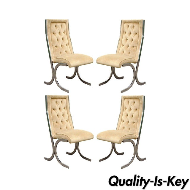 4 Vintage Mid Century Modern Chrome X-Form Tufted Dining Chairs Milo Baughman Era For Sale - Image 11 of 11