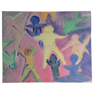 Colorful Abstract Dancers Painting For Sale