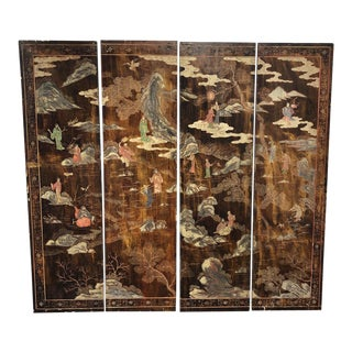 Vintage Japanese Two Sided Hand Painted Four Screen Panel Screen For Sale