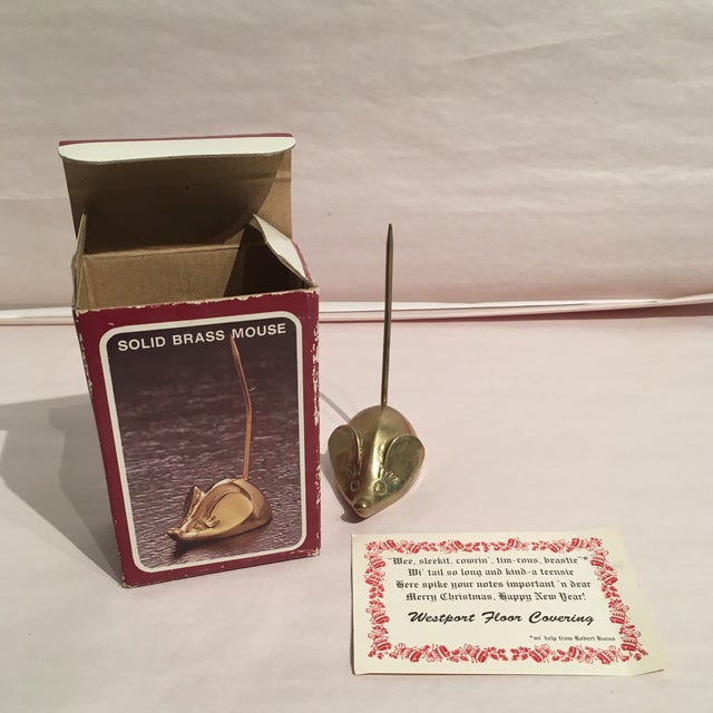 Mid-Century Solid Brass Mouse Note Spiker - Image 6 of 7