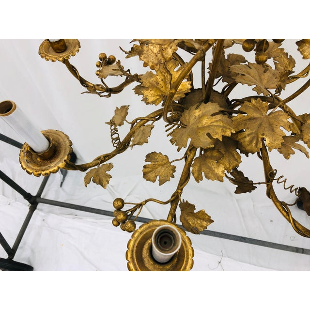 Antique French Gilded Ivy Chandelier For Sale - Image 4 of 13