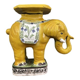 1970s Hollywood Regency Yellow Ceramic Elephant Garden Stool For Sale