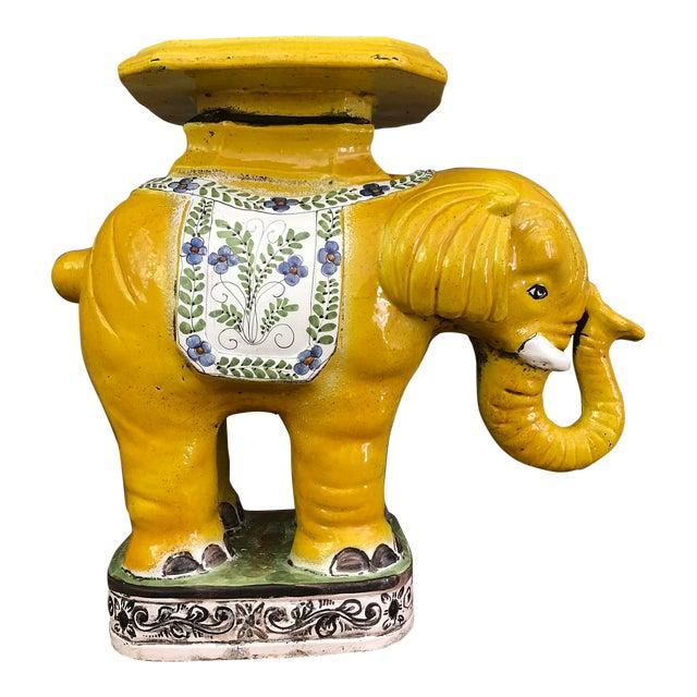 1970s Hollywood Regency Yellow Ceramic Elephant Garden Stool For Sale