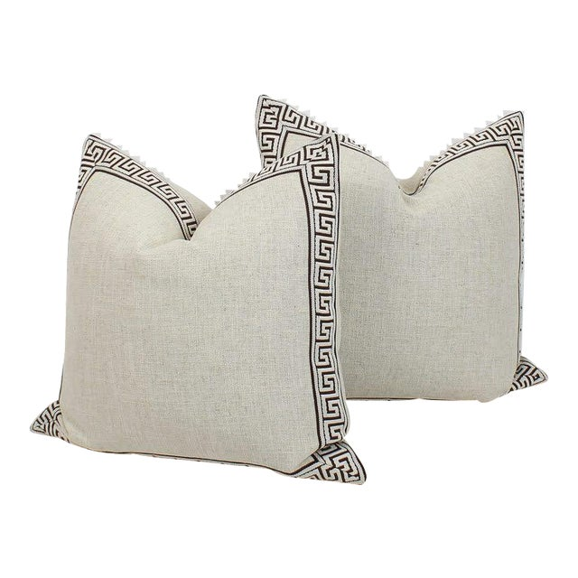 Oatmeal and Chocolate Greek Key Linen Pillows, a Pair For Sale