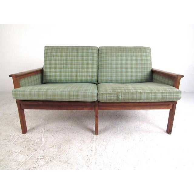 "Illum Wikkelsø for N. Eilersen A/S Mid-Century Modern ""Capella"" Settees - A Pair For Sale - Image 10 of 11"