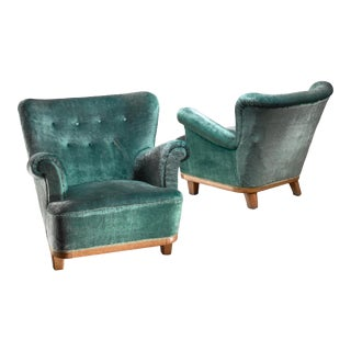 Pair of Swedish Easy Chairs, 1940s For Sale
