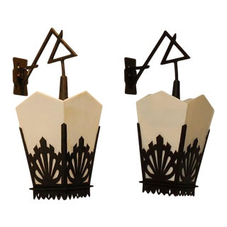 Vintage Asian Lantern Wall Sconces - a Pair For Sale