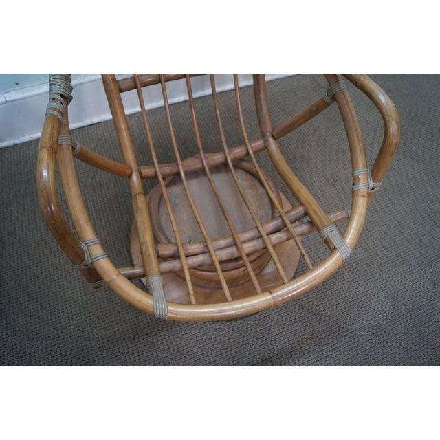 Vintage Rattan Bamboo Swivel Lounge Chair Chairish