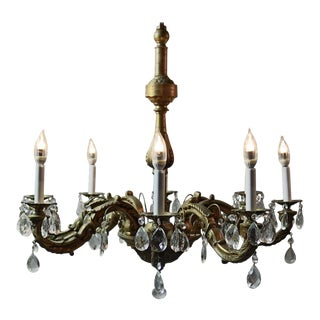 Antique 1930s Large French Empire Eight Arm Bronze and Crystal Chandelier For Sale