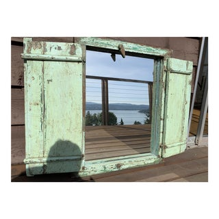 Vintage Reclaimed Square Mirror W/Shutters For Sale