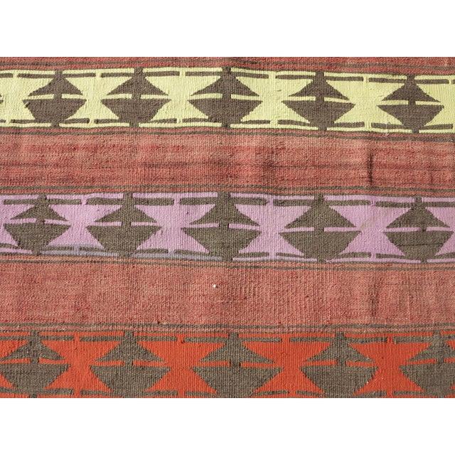 "Orange Vintage Anatolian Handmade Kilim Runner-3'x11'4"" For Sale - Image 8 of 13"