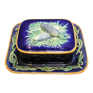 19th Century English Traditional Minton Majolica Cobalt Blue Sardine Box For Sale