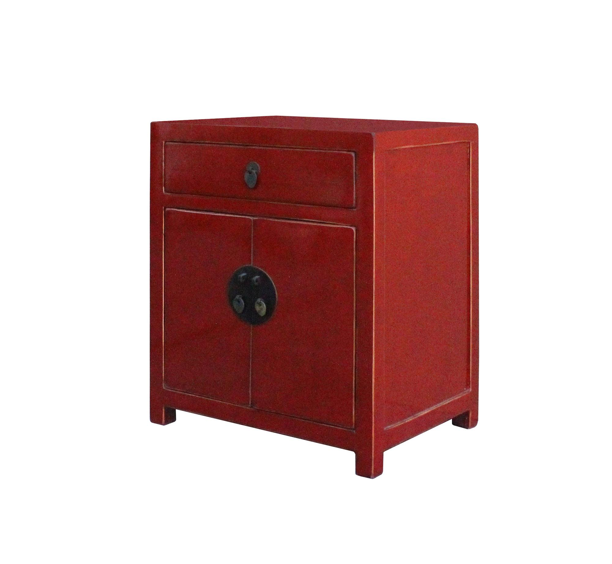 Asian Chinese Red Lacquer Moonface End Table Nightstand For Sale   Image 3  Of 8