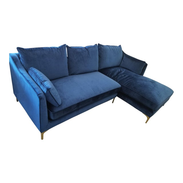 Excellent Navy Blue Velvet Sectional Sofa With Right Chaise Onthecornerstone Fun Painted Chair Ideas Images Onthecornerstoneorg