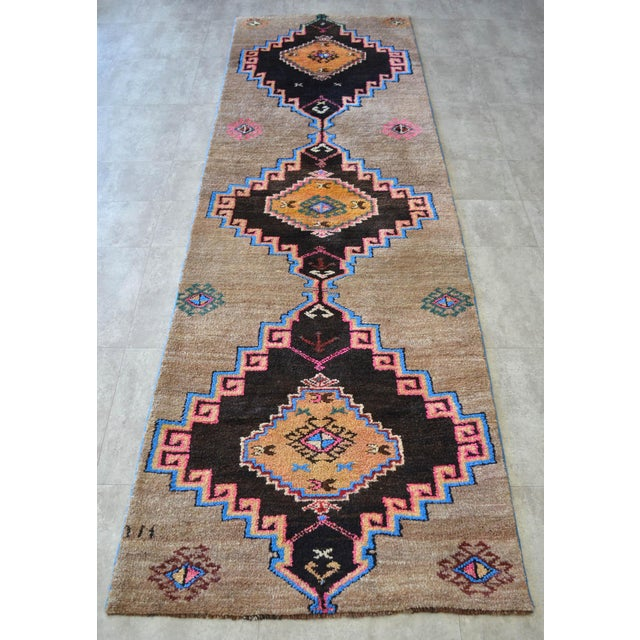 Hand Knotted Natural Colors Full Tribal Design Runner Rug Wide Runner - 3′6″ X 11′4″ For Sale - Image 4 of 11
