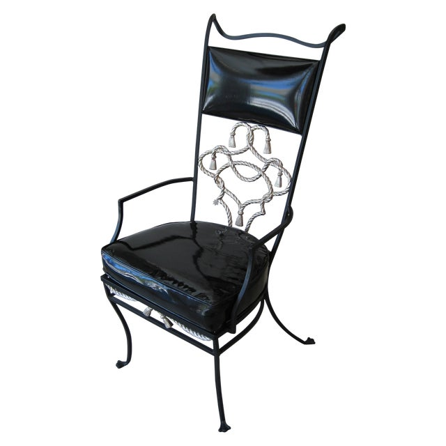 Black Iron High-Backed Chair - Image 1 of 3