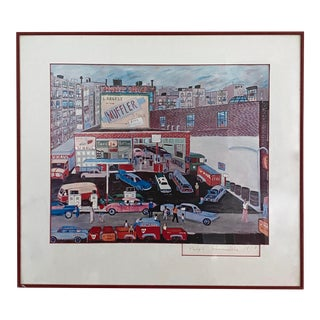 1970s Ralph Fasanella 'Happy and Bud's Service Station' Signed and Framed Print For Sale