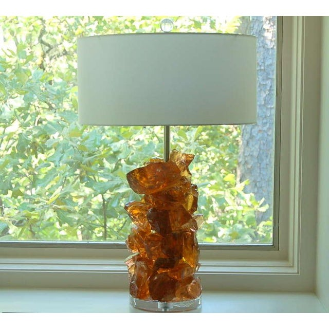 Swank Lighting Glass Rock Table Lamps by Swank Lighting Peach Tea - a Pair For Sale - Image 4 of 10