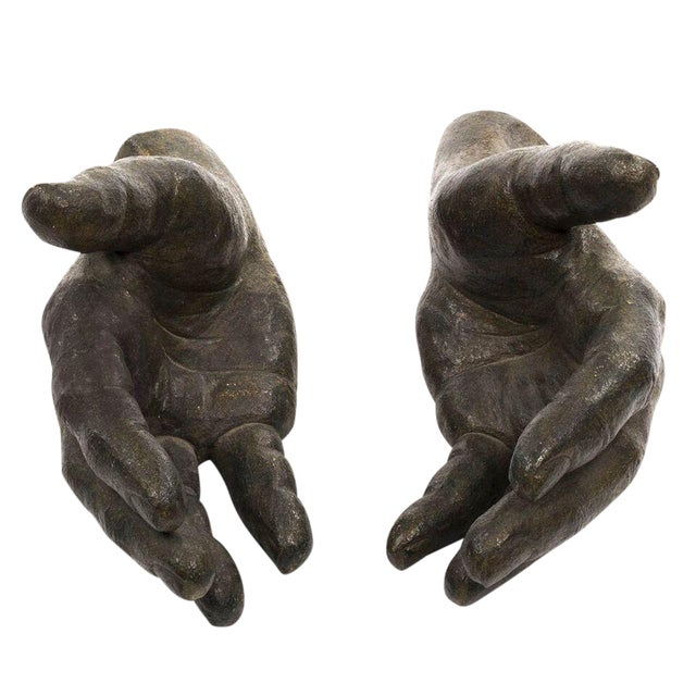 Pair of Ceramic Hands with Bronze Glaze For Sale
