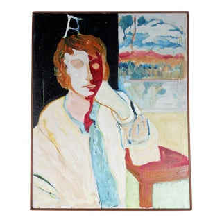 "Alysanne McGaffey ""Through a Window Lightly"" Bay Area Portrait in Oil, 1960s 1960s For Sale"