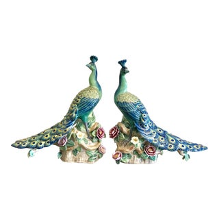 Vintage Chinese Hand Painted Porcelain Peacock Figurines - a Pair For Sale