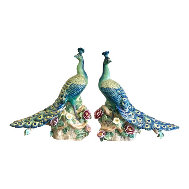 Vintage Hand Painted Porcelain Peacock Figurines - a Pair For Sale