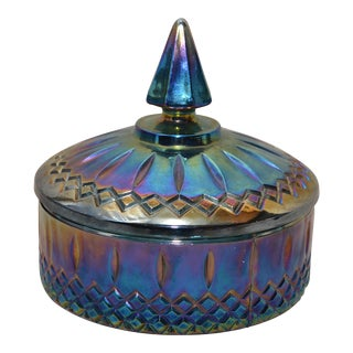 Indiana Glass Co. Blue Carnival Glass Powder Box