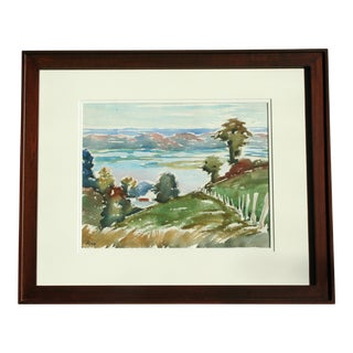 Original Vintage Watercolor Landscape Painting For Sale