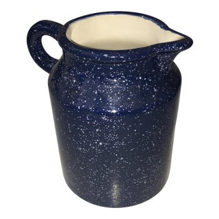 Country Blue & White Speckled Ceramic Jug