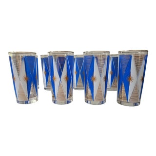 Gold & Blue Mid-Century Highball Glasses - Set of 8