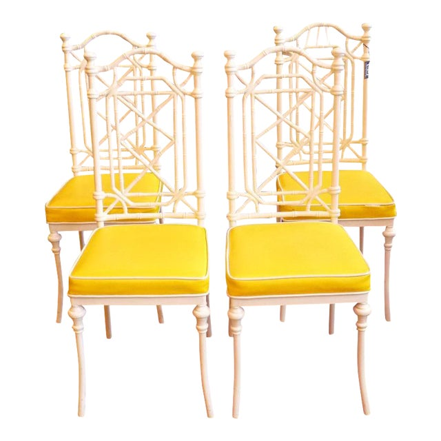 Faux Bamboo Regency Chippendale Dining Chairs - Set of 4 - Image 2 of 11
