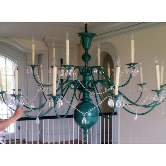 Green Copper Chandelier With Crystal Accents - Image 2 of 8