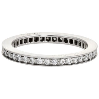 Cartier d'Amour Wedding Band Platinum Ring Estate Box and Papers For Sale