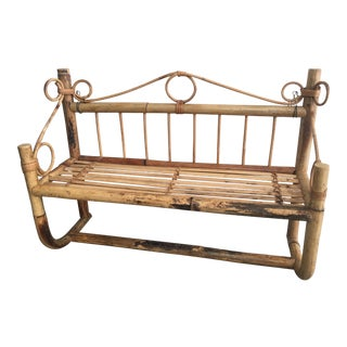 Vintage Boho Chic Bamboo Rattan Wall Shelf For Sale