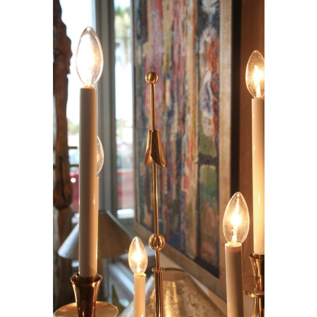 1950s Stilnovo Brass Candelabra Floor Lamps With Marble Bases - a Pair For Sale - Image 5 of 12