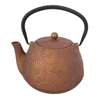Mid 20th Century Japanese Tetsubin Cast Iron Teapot Sunflower For Sale