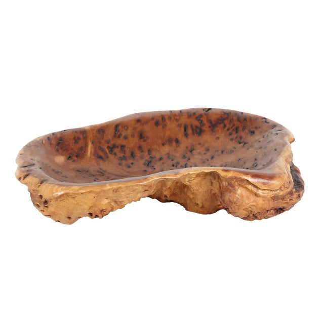 Early 15th C. VINTAGE CARVED GREY BOX BURL DECORATIVE BOWL For Sale