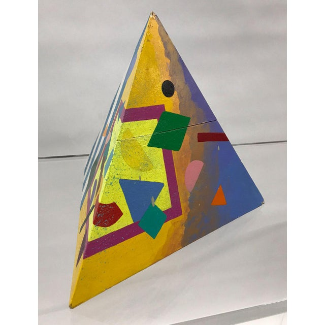 Post-Modern handmade pyramidal-shaped box with abstract painting covering interior and exterior surfaces. Bold, vibrant...