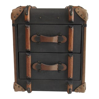 "Restoration Hardware Safari-Style ""Richard"" Traveling Trunk, Side/End Table For Sale"