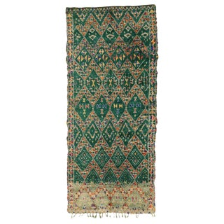 Late 20th Century Green Beni M'Guild Moroccan Rug - 5′7″ × 10′ For Sale