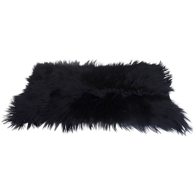 "Black Long-Haired Goat Skin Rug -- 2'1"" x 4' - Image 1 of 4"