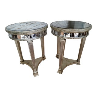 Mirrored & Aged Silver Gilt Round End Tables - A Pair