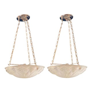 Pair of Art Deco Molded Glass Chandeliers, Plafoniere Form Ceiling Fixtures For Sale